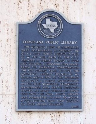 Corsicana Public Library Marker image. Click for full size.