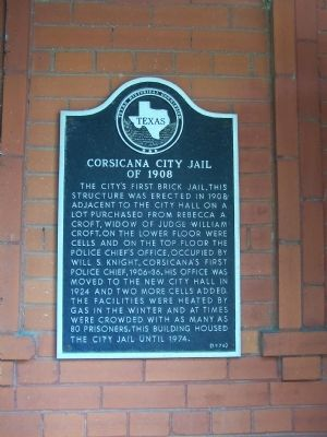 Corsicana City Jail of 1908 Marker image. Click for full size.