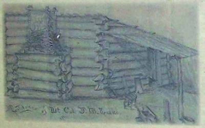 Sketch at left : Cabin of Lt. Col. J.B. Leake image. Click for full size.
