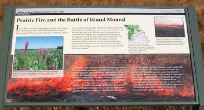 Prairie Fire and the Battle of Island Mound Marker image. Click for full size.