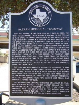 Bataan Memorial Trainway Marker Photo, Click for full size
