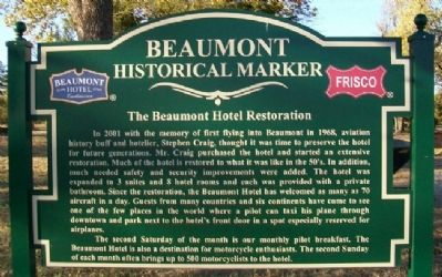The Beaumont Hotel Restoration Marker (Side B) image. Click for full size.