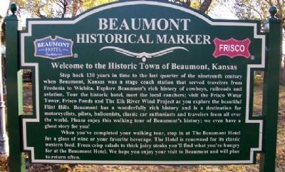 Welcom to the Historic Town of Beaumont, Kansas Marker image. Click for full size.