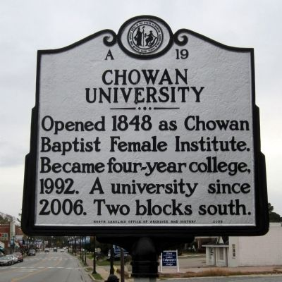 Chowan University Marker image. Click for full size.