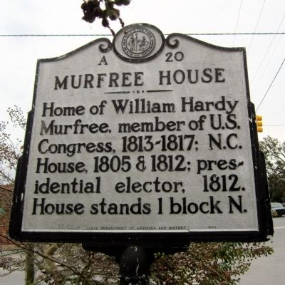 Murfree House Marker image. Click for full size.