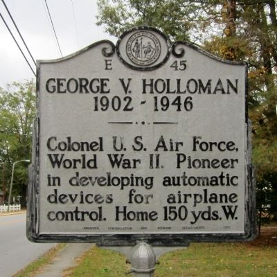 George V. Holloman Marker image. Click for full size.