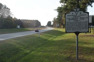 Brunswick County, Virginia Marker, westbound US 58, Pleasant Shade Drive / Governor Harrison Parkway image. Click for full size.