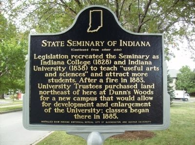 Reverse, State Seminary of Indiana Marker image. Click for full size.