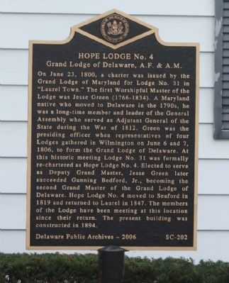 Hope Lodge No. 4 Marker image. Click for full size.