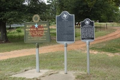 Camp Fannin Marker (center) and Camp Fannin Internment Camp (right) image. Click for full size.