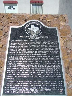 Dr. Lawrence A. Nixon Marker Photo, Click for full size
