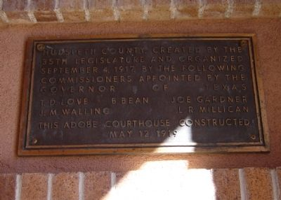 Hudspeth County Courthouse Marker image. Click for full size.
