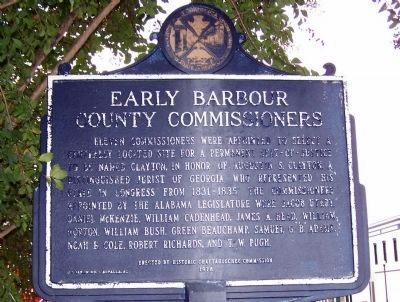 Early Barbour County Commissioners Marker image. Click for full size.