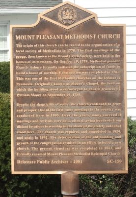 Mount Pleasant Methodist Church Marker image. Click for full size.