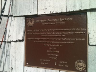Don Hansen, Dana Wharf Sportfishing Marker image. Click for full size.