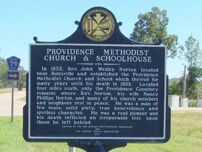 Providence Methodist Church & Schoolhouse Marker (side 2) image. Click for full size.