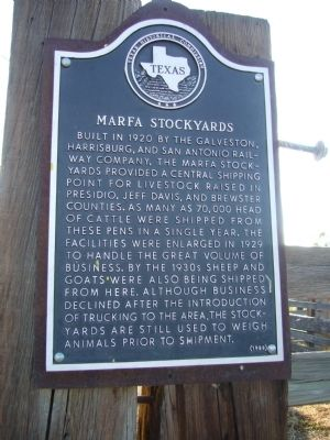 Marfa Stockyards Marker image. Click for full size.