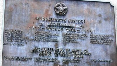 World War I plaque on right side of monument image. Click for full size.