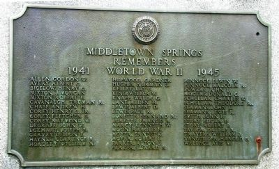 World War II plaque on right side of monument image. Click for full size.