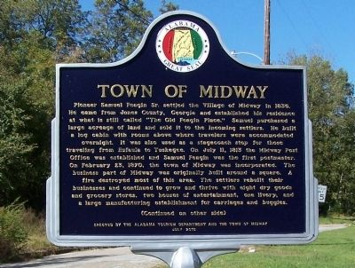 Town of Midway Marker, front image. Click for full size.