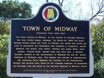 Town of Midway Marker, back image. Click for full size.