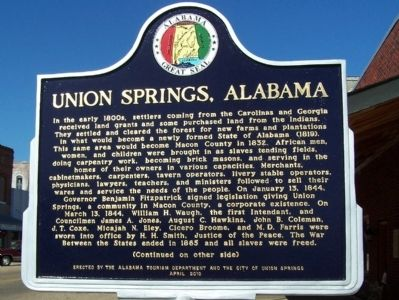 Union Springs, Alabama Marker image. Click for full size.