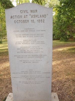 "Civil War Action At ""Ashland"" Marker reverse image. Click for full size."
