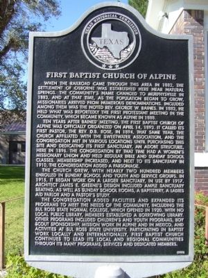 First Baptist Church of Alpine Marker image. Click for full size.