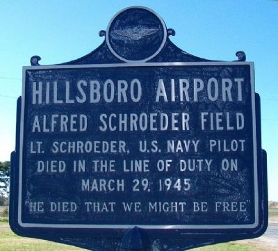 Hillsboro Airport Marker image. Click for full size.