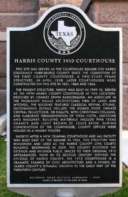 Harris County 1910 Courthouse Marker image. Click for full size.