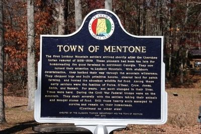 Town Of Mentone Marker (Front) image. Click for full size.