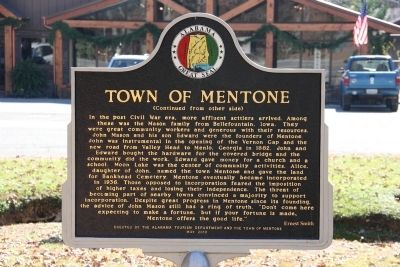 Town Of Mentone Marker (Reverse) image. Click for full size.