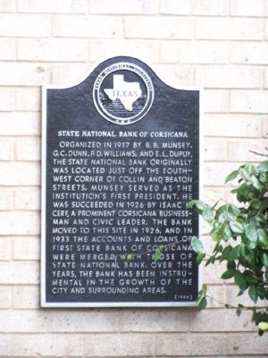 State National Bank of Corsicana Marker image. Click for full size.