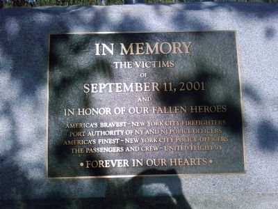 September 11th California Memorial Marker Photo, Click for full size
