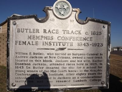 Butler Race Track / Memphis Conference Female Institute Marker image. Click for full size.