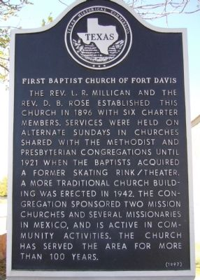 First Baptist Church of Fort Davis Marker image. Click for full size.