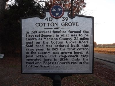 Cotton Grove Marker image. Click for full size.