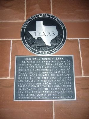 Old Ward County Bank Marker image. Click for full size.