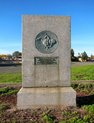 Pony Express Riders Memorial - monument with marker and artwork image. Click for full size.