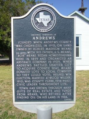 Original Townsite of Andrews Marker image. Click for full size.