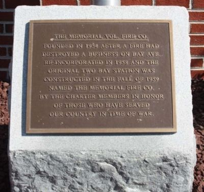 The Memorial Vol. Fire Co. Marker Photo, Click for full size