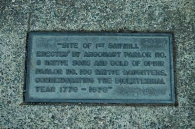 Site of 1st Sawmill Marker image. Click for full size.