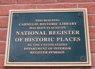 Carnegie Library NRHP Marker image. Click for full size.