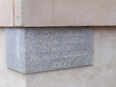 Carnegie Library Cornerstone image. Click for full size.
