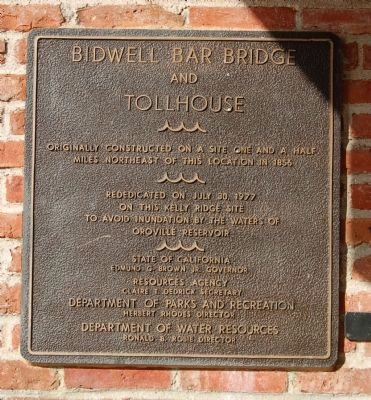 Bidwell Bar Bridge and Tollhouse Marker image. Click for full size.