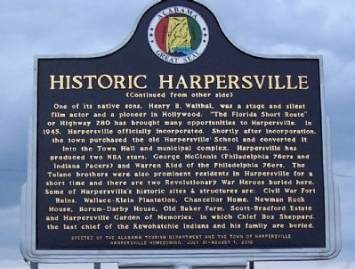 Historic Harpersville Marker, back image. Click for full size.