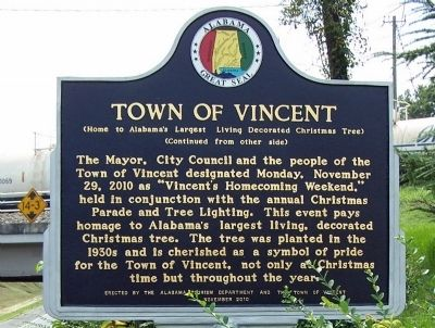 Town of Vincent Marker image. Click for full size.