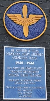 Corsicana Army Airfield Marker image. Click for full size.