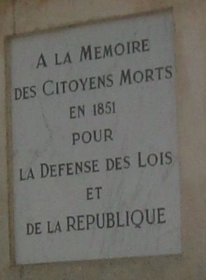 L'insurrection de 1851 Monument, front panel image. Click for full size.