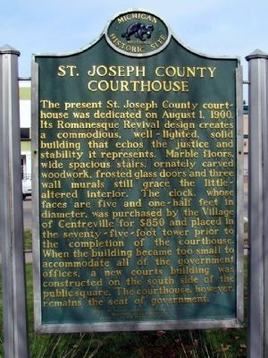 St. Joseph County Courthouse Marker (back) image. Click for full size.